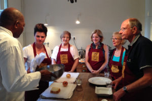 Chef Walter and students in kitchen