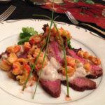 Flank Steak slices with Bleu Cheese/Crawfish